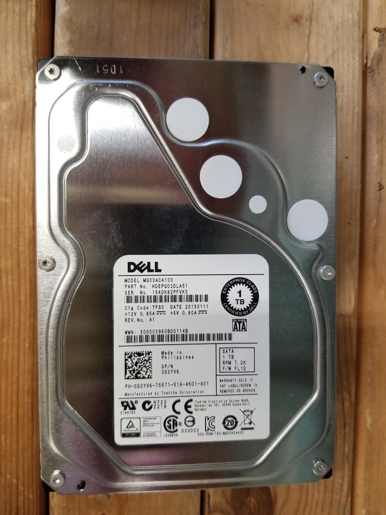 D3YV6 0D3YV6 DELL 1TB 7.2K 6G 32MB 3.5 SATA SERVER HDD Hard Drive MG03ACA100